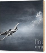 Risk - Aeroplane In Thunderstorm Wood Print