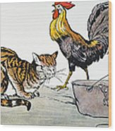 Aesop: Cat, Cock, And Mouse Wood Print
