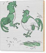 Aesop: Cocks Fighting Wood Print