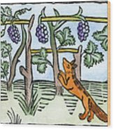 Aesop The Fox & The Grapes Wood Print