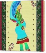 Afghan Pregnant Woman Wood Print