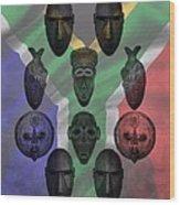 Africa Flag And Tribal Masks Wood Print