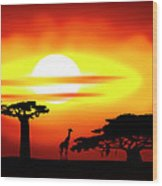 Africa Sunset Wood Print