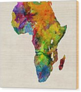 Africa Watercolor Map Wood Print by Michael Tompsett