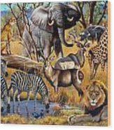 African Collage Wood Print by Cynthie Fisher