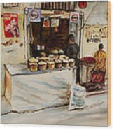 African Corner Store Wood Print