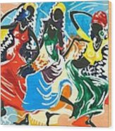 African Dancers No. 2 Wood Print