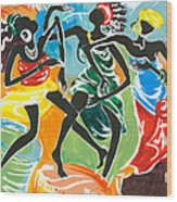 African Dancers No. 3 Wood Print