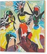 African Dancers No. 4 Wood Print