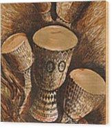 African Drums Wood Print