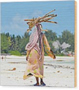 African Girl With A Bundle Of Reeds On Wood Print