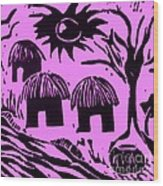 African Huts Pink Wood Print
