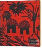 African Huts Red Wood Print