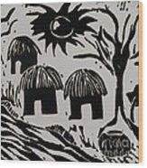 African Huts White Wood Print
