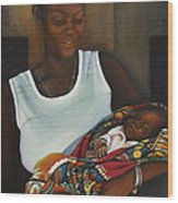 African Mother And Child Wood Print