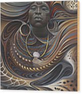 African Spirits I Wood Print by Ricardo Chavez-Mendez