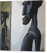 African Statue Reflection Wood Print