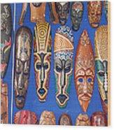 African Tribal Masks In Sidi Bou Said Wood Print