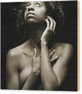 Chynna African American Nude Girl In Sexy Sensual Photograph And In Black And White Sepia 4789.01 Wood Print
