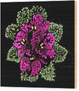 African Violets Bedazzled Wood Print