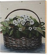 African Violets In Basket Wood Print
