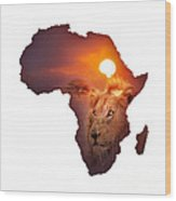 African Wildlife Map Wood Print