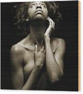 Chynna African American Nude Girl In Sexy Sensual Photograph And In Black And White Sepia 4782.01 Wood Print
