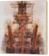 Aft Turret 3 Sun Down Uss Iowa Battleship Photo Art 01 Wood Print