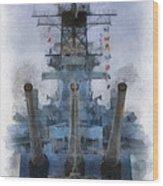 Aft Turret 3 Uss Iowa Battleship Photoart 01 Wood Print