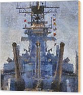 Aft Turret 3 Uss Iowa Battleship Photoart 02 Wood Print