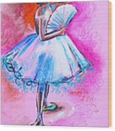 After Master Degas Ballerina With Fan Wood Print