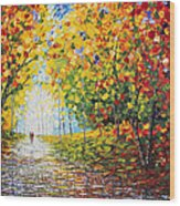 After Rain Autumn Reflections Acrylic Palette Knife Painting Wood Print