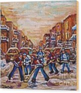 After School Winter Fun Street Hockey Paintings Of Montreal City Scenes Carole Spandau Wood Print