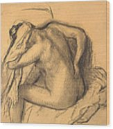 After The Bath .woman Drying Her Hair Wood Print