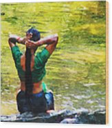 After The River Bathing. Indian Woman. Impressionism Wood Print by Jenny Rainbow