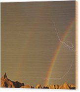 After The Storm - Lightning And Double Rainbow Wood Print