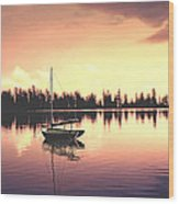 Afterglow  Sunset On Lake Sailboat Panoramic Picture Wood Print