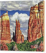 Afternoon Cathedral Rocks Saddle View Red Rock State Park Sedona Arizona Wood Print