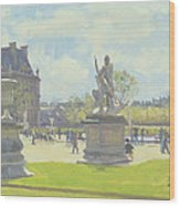 Afternoon In The Tuileries, Paris Oil On Canvas Wood Print