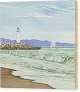 Afternoon Sail Walton Lighthouse Wood Print by Kerry Van Stockum