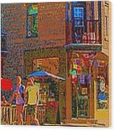 Afternoon Stroll French Bistro Sidewalk Cafe Colors Of Montreal Flags And Umbrellas City Scene Art Wood Print
