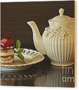 Afternoon Tea And Tiramisu Wood Print