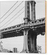 Afternoon Under The Manhattan Bridge - Brooklyn Bridge Park Wood Print