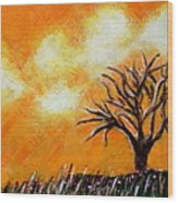 Against The Yellowing Sky Wood Print