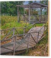 Aged Bridge And Gazebo Wood Print