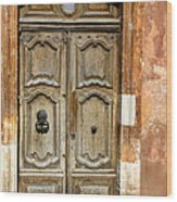 Aged Door In Provence Wood Print