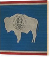 Aged Wyoming State Flag Wood Print