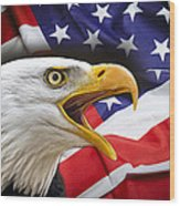 Aggressive Eagle And United States Flag Wood Print by Daniel Hagerman