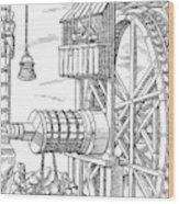 Agricola Water Pump, 1556 Wood Print