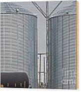 Agricultural Grain Silos Exterior Railway Wagon Wood Print